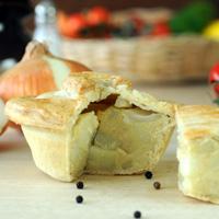 Handmade cheese potato and onion pie