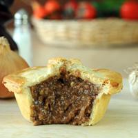 Handmade minced beef and onion pie